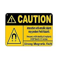 Caution Interaction lic Object May Produce Pinch Hazard ティンサイン ポスター ン サイン プレート ブリキ看板 ホーム バーために