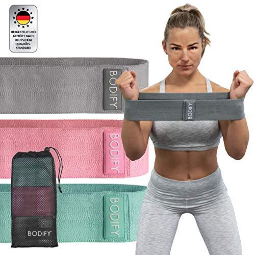 Bodify® Fitnessbänder aus Stoff – Rutschfeste Gymnastikbänder Therabänder – Elastisches Yogaband für gezieltes Training – Sport Widerstandsbänder für Zuhause – Fitness Loop Band Set mit 3 Widerständen