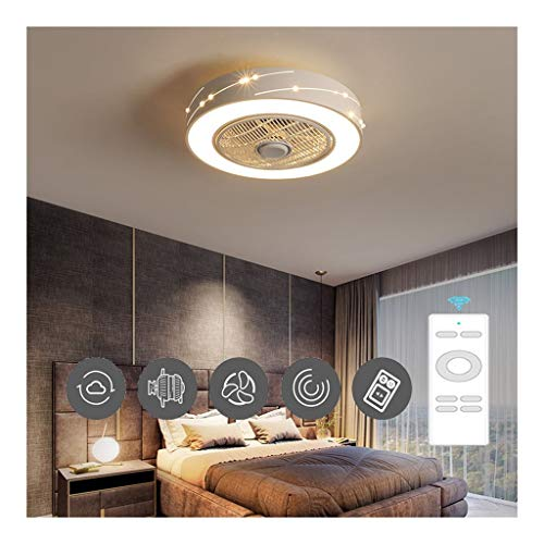 Round Cool Plafondventilator Met Lichten,50cm Inbouw Ventilator Aan Het Plafond Met Licht Verstelbare Windsnelheid, Dimbaar Met Afstandsbediening (Color : White)