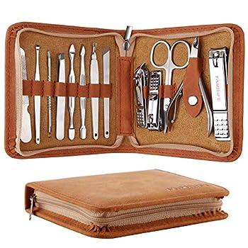 FAMILIFE F03 Manicure Set Pedicure Kit Nail Clipper Set 13pcs Professional Men Grooming Kit Stainless Steel Portable Travel Nail Kit Women