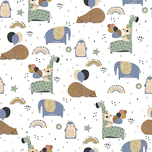 Tela de algodón de 0,5 m con animales, arcoíris y globos, tela para niños