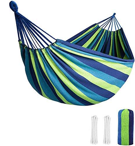SUFUS Amaca da Giardino, Massima capacità di Carico 300 kg (260 x 150 cm) | con Barre per la Diffusione | Amache di Cotone per Campeggio Viaggio - Strisce Verde-Blu