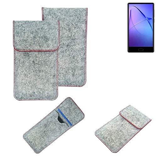 K-S-Trade® Handy Schutz Hülle Für Leagoo KIICA Mix Schutzhülle Handyhülle Filztasche Pouch Tasche Hülle Sleeve Filzhülle Hellgrau Roter Rand