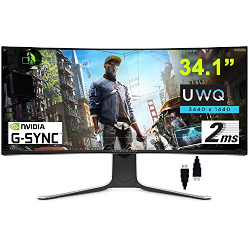 """ALIENWARE 34 Flagship Gaming Curved Monitor 34.1"""" UWQHD (3440 x 1440) Nano IPS Panel 120Hz Refresh Rate Display 2ms Response 21:9 178° Viewing Angle Nvidia G-SYNC DisplayPort + HDMI Cable"""