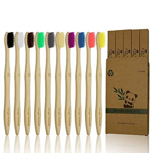 Cepillo Dientes Bambu 10 Piezas de Cepillo de Dientes de Bambú de Cerdas Suaves, Cepillo Dientes Bamboo Ecológico Biodegradable para Uso Familiar