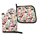 XCNGG Guanti da Forno a microonde English Springer Spaniel Floral Cute Florals Dog Design Unisex Pattern Heat Resistant Oven Mitts Pot Holders for Kitchen Set Soft Anti-Scald Cotton Non-Slip Gloves,