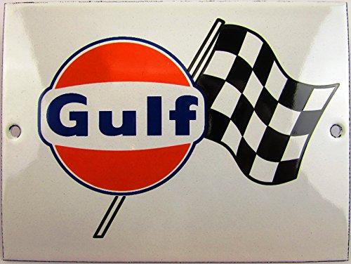 Neues Emaille Schild Gulf Flagg, 9cm x 12cm, Classic Werbeschild Reklameschild 50er Jahre Life Style Retro Fifties