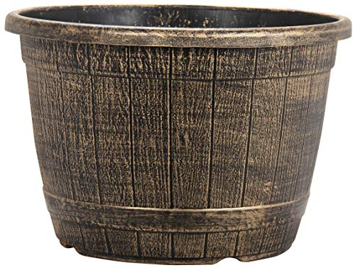 Muddy Hands Bronze Wooden Barrel Effect Plant Pot Round Plastic Planter Outdoor Garden Flower Tree Herb (1, 25.8 Litre)