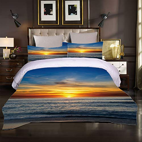 Ocean Seaside Scenery - Juego de ropa de cama (2200 x 200 cm), diseño de olas azules, color azul