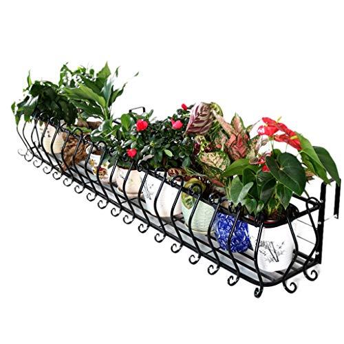 Soportes Recipientes para Plantas y Accesorios/Accesorios Barandilla De Hierro Forjado Flor, Balcón Estante Colgante Colgante Maceta, La Planta De Metal Creativa Stand, Negro Encaje Europea Ancha Tie