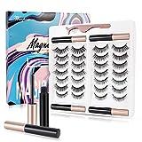 3D Magnetic Eyelashes and Eyeliner Set, 4 Tubes of Magnetic Eyeliner & 14 Pairs Magnetic Eyelashes Kit, Reusable False lashes, No Need Glue
