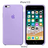 Funda Silicona para iPhone 5, 5s, SE Silicone Case, Logo Manzana, Textura Suave, Forro Microfibra (Violeta)