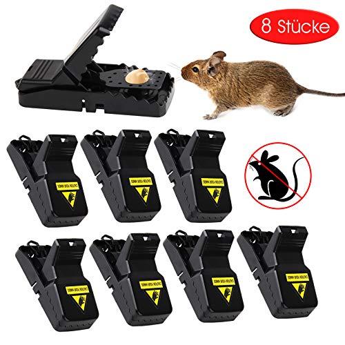 Profi Mausefalle 8er Set aus PC+ABS, Wiederverwendbar Mäusefalle Schlagfalle, effektive Rattenfalle, einfaches Aufstellen, schnell tötend, verwenden in Haus Und Garten (8 Stücke)