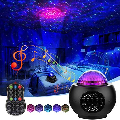 Sternenhimmel Projektor Lampe,LED Starry Projector Light mit Timer/Bluetooth Lautsprecher/Fernbedienung Dimmbar Kinder Nachtlicht für Party Halloween Weihnachten Zimmer Dekoration [Energieklasse A+]