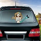 MIYSNEIRN Rear Window Wiper Decal Mystical Mermaid Holding a Seashell Waving Tail Wiper Arms 3D Funny Cartoon Festive for Car Bumper Sticker Waterproof Wiper Vinyl Decal for Vehicle Rear Wipers Decor