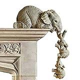 Elefant Statue Figur 3 Stücke kulptur Figur Deko Set für Home Office, Mütter hängen Babys Figur Harz Handwerk Ornamente
