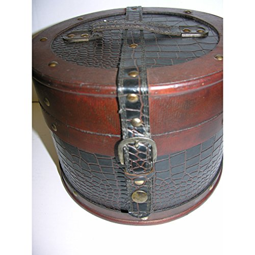 GR hoedenkoffer rond 18 cm hout leer hoedendoos antieke stijl kist box