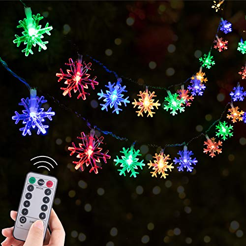 Christmas Snowflake String Lights Remote, 13.8 Feet 40 Led Fairy Lights, Battery Operated Waterproof with 8 Lighting Modes for Xmas Home Garden Bedroom and Indoor&Outdoor Decoration, Multi Color