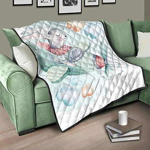 AXGM Colcha de conejo de Pascua, manta para el salón, cálida, para dormitorio, color blanco, 130 x 150 cm