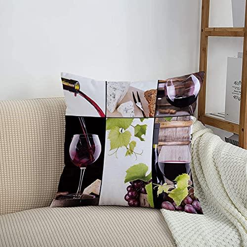 Fundas de cojines sencillas y clásicas de 45 x 45 cm,Vino, Vino Collage con Barril Botella Copa de vino Uva Gou,ideales para casa, oficina o para la espalda en el coche - Fundas de Poliéster para sofá
