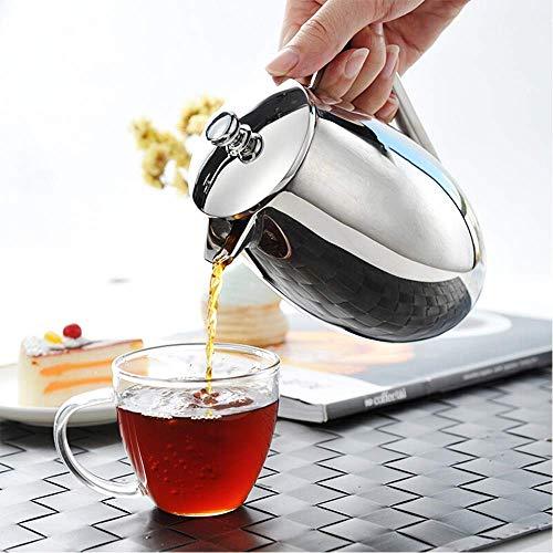 HYY-YY Filtro de café Prensa Hogares de Acero Inoxidable del pote del café Prensa Francesa French Press té Filtro Cafetera Copa Mano Pot Cafetera (Color: Plata, Tamaño: 350 ml)
