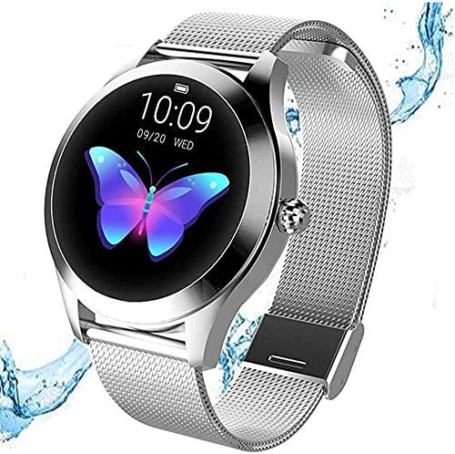 Bluetooth reloj inteligente multifuncional fitness tracker reloj deportivo con podómetro de frecuencia cardíaca y pulsera impermeable IP68-plata