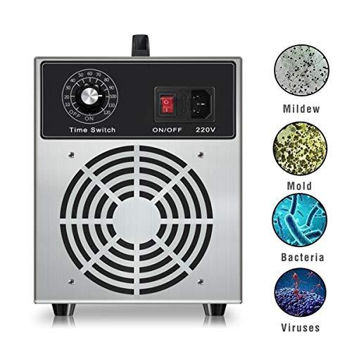 Lychee Generador de ozono Comercial Profesional,3000mg/h 220V Portátil Purificador de Aire O3, Ambientador de Purificador de Resistente a Desodorante y Formaldehído,para Hogar, Oficina y Automóviles