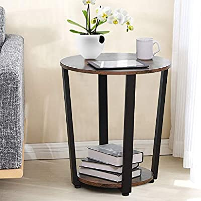 US Fast Shipment Round Vintage End Table,2-Tier...