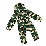 Bekleidung Longra Baby Strampler, Baby Jungen Mädchen Camouflage Langarm Bodysuit mit Kapuzenpullover Overall Outfit (0-24 Monate) (70CM 0-6Monate, Camouflage)