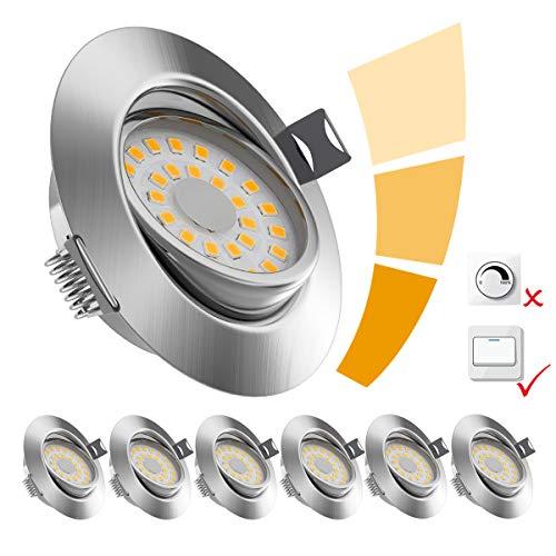 6x LOFTer LED Einbaustrahler ultra Flach LED Spots 230V Warmweiß 6W 500LM LED Einbaustrahler Schwenkbar 3 stufe Dimmbar LED Spot IP44 für Wohnzimmer, Badezimmer, Büro