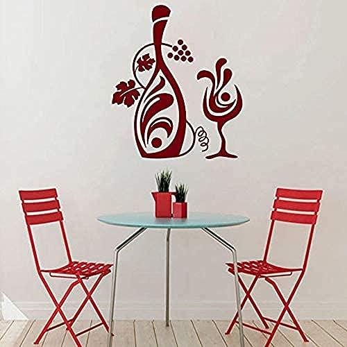 Vinilos decorativos adhesivos y murales artísticos cocina uva botella copa vino 59x69cm