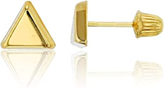 14K Yellow Solid Gold Polished Screw Back Stud Earrings | Multi Shape Circle, Triangle, Square, Heart, Moon Stud Earrings ...