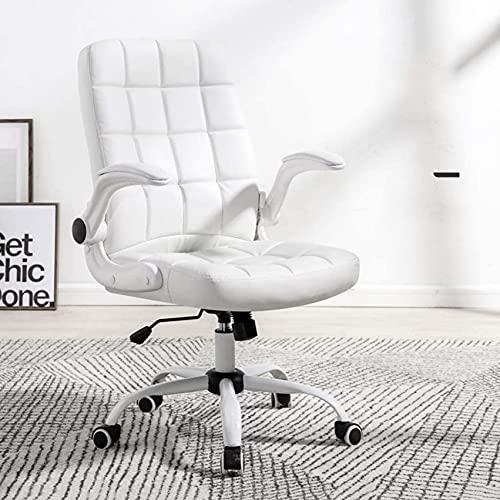 SACKDERTY Cadeira Cadeira para computador Home Boss Recliner, Cadeira de jogos Branca, Cadeira de escritório Cadeira giratória confortável e sedentária (Cor: PU-Branco)