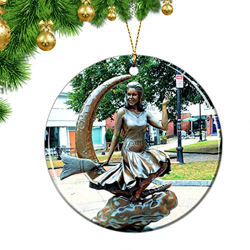 USA Christmas Ornaments USA America Salem Bewitched Statue of Elizabeth Montgomery Christmas Ornaments Ceramic Sheet Souvenir Travel Gift