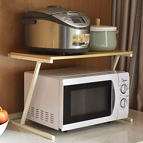 Wmeat-S Estante para Microondas Multi-función Estantería de Cocina Soporte para Microondas Estante de Almacenamiento (Color : Beige)