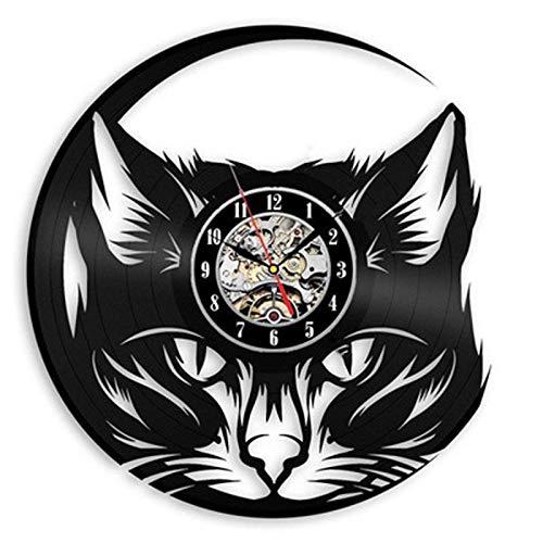wtnhz LED Reloj de Pared de Vinilo Colorido Disco de Vinilo Retro Reloj de Pared diseño Moderno Tienda de Gatos decoración Reloj 3D Reloj de Pared decoración del hogar 12 Pulgadas