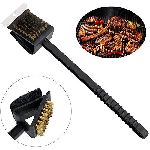 OYD Cepillo Limpieza Barbacoa, 3 en 1 de Alambre de Cobre, Cepillo de Limpieza de Metal para Barbacoa, para Gas y carbón Vegetal, Limpiador de Mango Largo para Parrillas