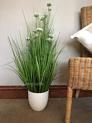 Potted Artificial White Allium Flowers Plant in Pot 34' Tall Faux Planter Houseplants Fake Evergreen for Indoor Greenery Home Office Plant for Indoor Decoration