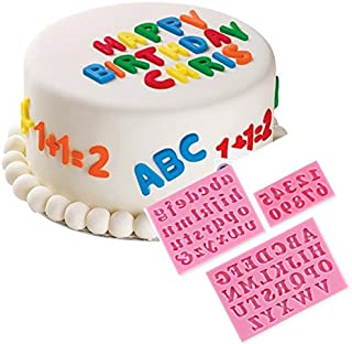 3Pcs Letters & Numbers Fondant Cake Molds Soap Chocolate Mold by MERRY BIRD