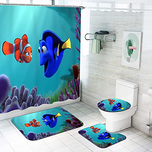 Fgolphd Finding Nemo Duschvorhang 180x200180x180 Strand Finding Nemo Badezimmerteppich 4-teiliges Set, Shower CurtainsWasserdicht (180 * 180,3)