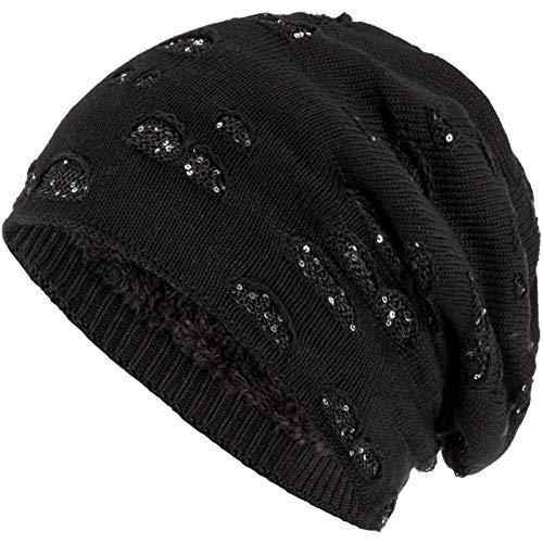 Compagno Mütze Damen Wintermütze mit Pailletten warm gefütterte Beanie Strickmütze Hat Haube Einheitsgröße, Farbe:Schwarz