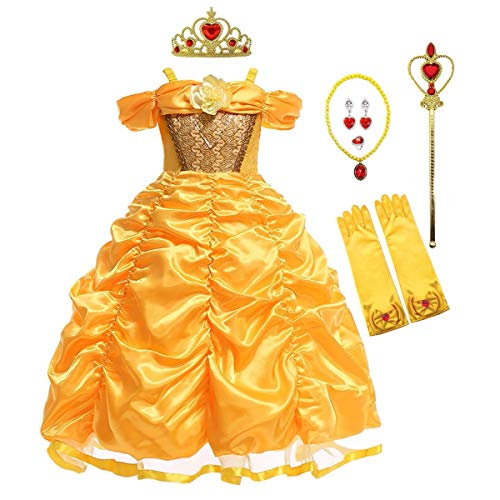 MYRISAM Disfraz de Carnaval Vestidos de Princesa Belle para Niñas Traje de Halloween Navidad Cumpleaños Fiesta Ceremonia Aniversario Cosplay Bella y Bestia Costume con Accesorios 6-7