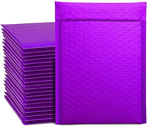 Switory 25 sobres acolchados A5 de 15,2 x 22,9 cm, con forro de burbujas para envío, empaque, autoadhesivos, color morado...