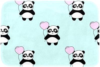 EGGDIOQ Doormats Panda Love Balloon Custom Print Bathroom Mat Waterproof Fabric Kitchen Entrance Rug, 23.6 x 15.7in