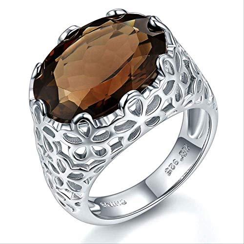 Iwino LemoQuartz trouwring, natuursteen, 925 sterling zilver, elegant sieraad