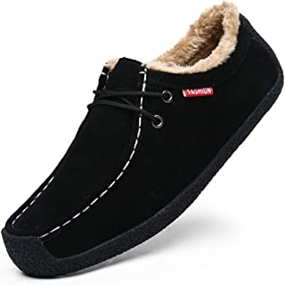 Asifn Men's Winter Warm Plush Boat Slippers Loafers Male Suede Indoor Outdoor Casual Slip On Shoes Moccasins Memory Foam