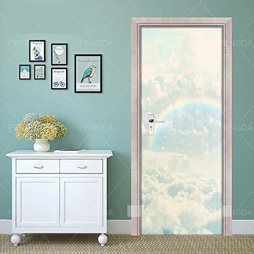 XLXYD deursticker, afbeeldingen, droom, regenboog, hemelblik, deurbehang, zelfklevend, vlieslinnen, fotobehang, behang, deurpaneel, deurposter, deur, decoratie, foto, design, groen gras, 80 x 200 cm A1.