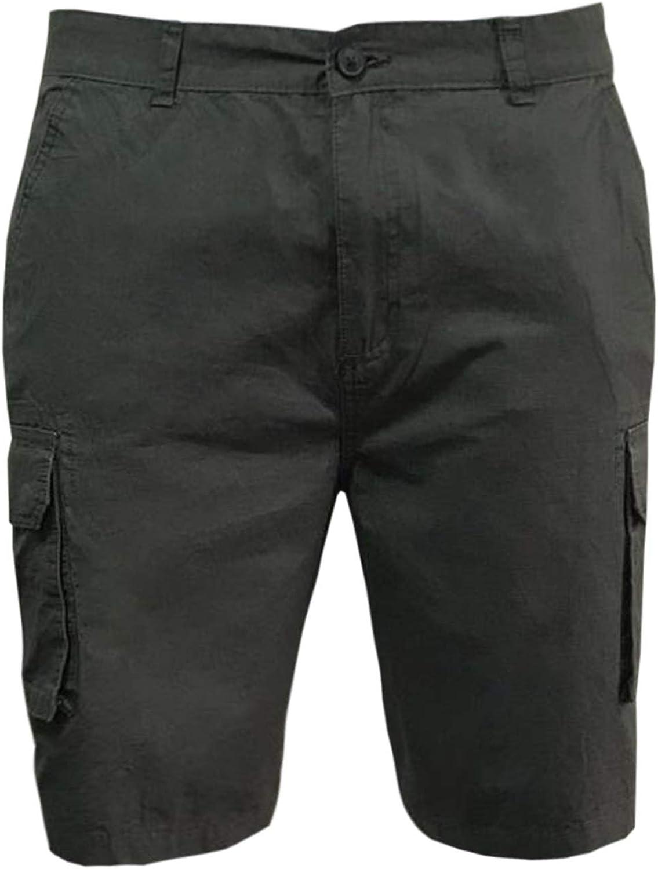 Be Jealous Mens Cargo Shorts Casual Plain Zip Pocket Shorts