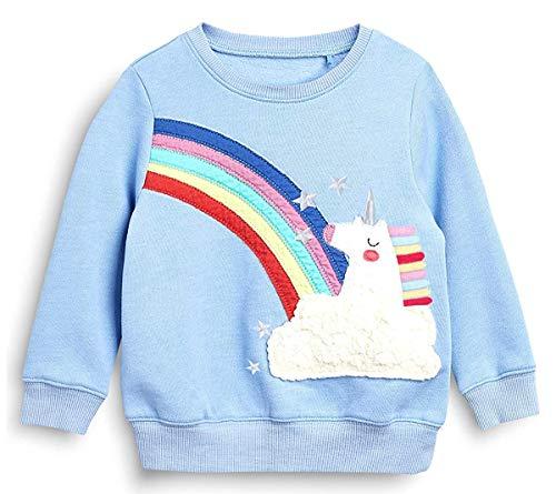 Mädchen Sweatshirt für Kinder Baumwolle Top Casual Jumper Mädchen T Shirt Kleinkind Kleidung Langarm Pullover Winter Frühling Alter 2-7 Jahre (104 / HerstellerGröße: 100, Regenbogen-Einhorn)