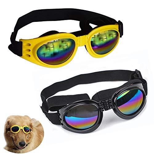 NA/ 2 occhiali da sole per cani con cinghia regolabile, protezione per gli occhi, protezione dai raggi UV, impermeabile per cani (nero, giallo)